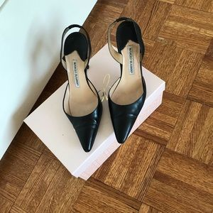 Black leather Manolos 39.5